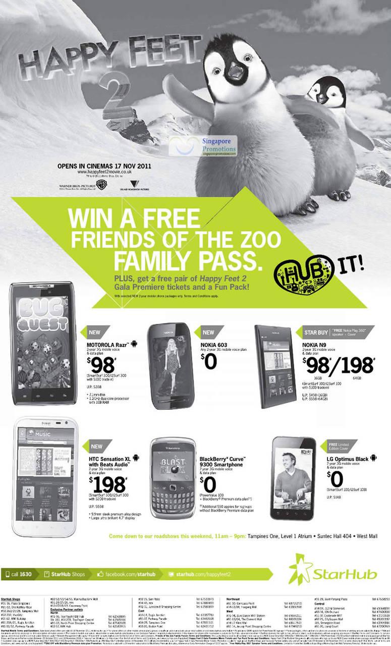 Motorola Razr, Nokia 603, Nokia N9, HTC Sensation XL, Blackberry Curve 9300, LG Optimus Black