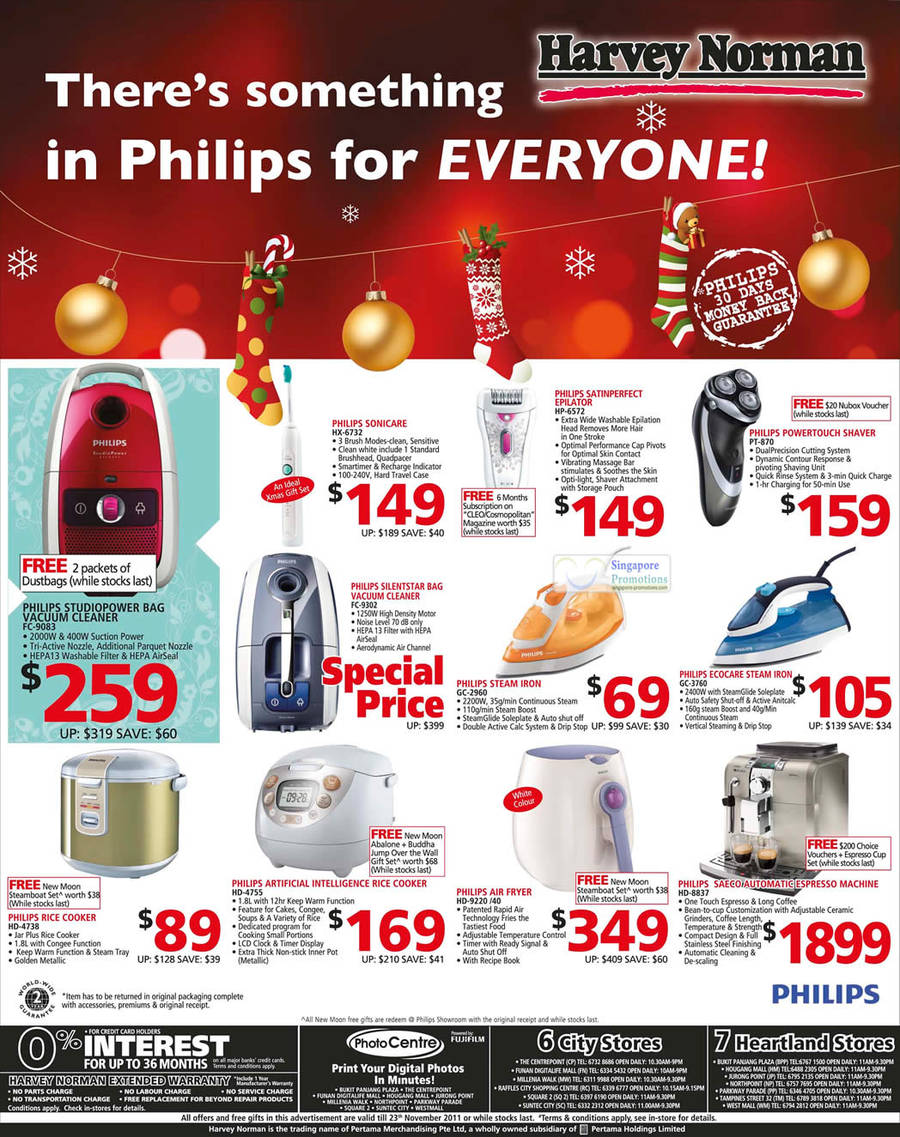 Philips FC-9083 Vacuum Cleaner, GC-2960 Steam Iron, HX-6732 SonicCare Toothbrust, Satiinperfect Epilator HP-6572, Powertouch Shaver PT-870, Ecocare Steam Iron GC-3760, Rice Cooker HD-4738, Rice Cooker HD-4755, Air Fryer HD-9220 /40 and Espresso Machine HD-8837