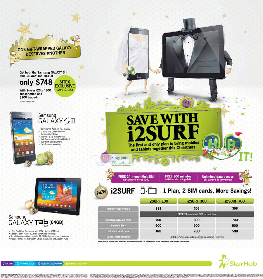 Samsung Galaxy S II, Samsung Galaxy Tab 10.1 64GB, i2Surf Plan