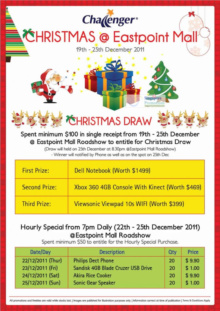 Christmas Draw, Hourly Special, Prizes