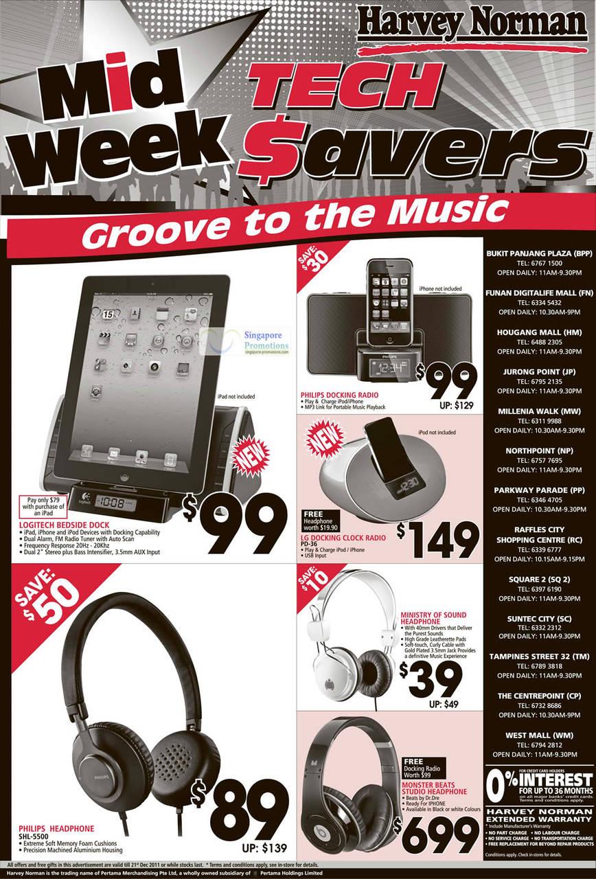 LG Docking Clock Radio PD-36, Philips Headphone SHL-5500, Monster Beats Studio Headphone by Dr. Dre