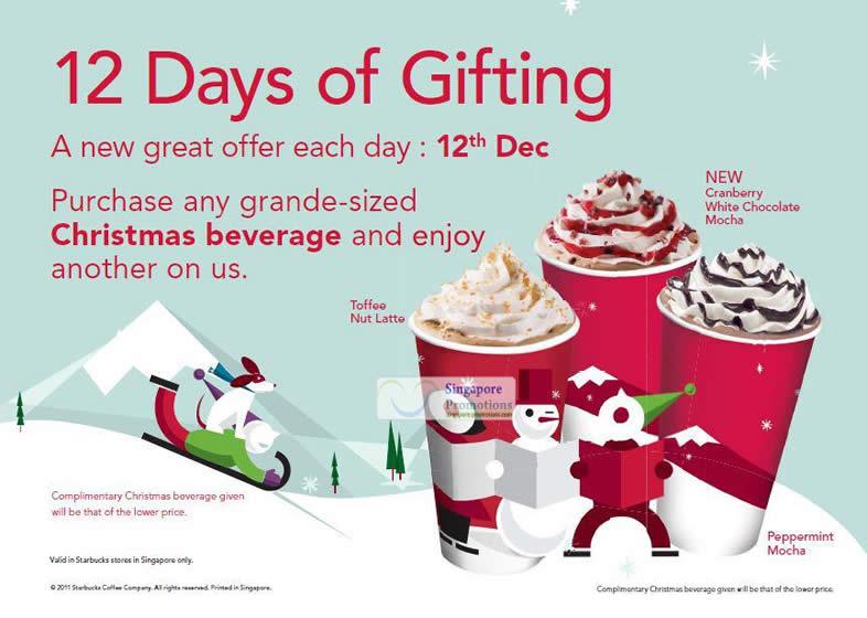Starbucks Singapore 1 For 1 Grande Size Christmas Beverage Promotion 12 Dec 2011