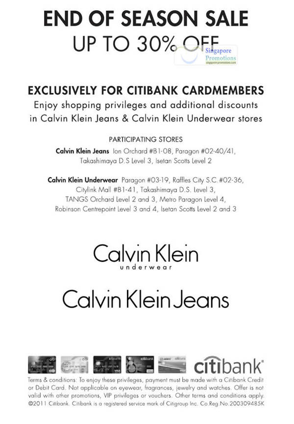 a2fc6c4e439 Calvin Klein Jeans   Underwear End of Season Sale Up To 30% Off 12 Jan 2012  UPDATED 12 Feb 2012