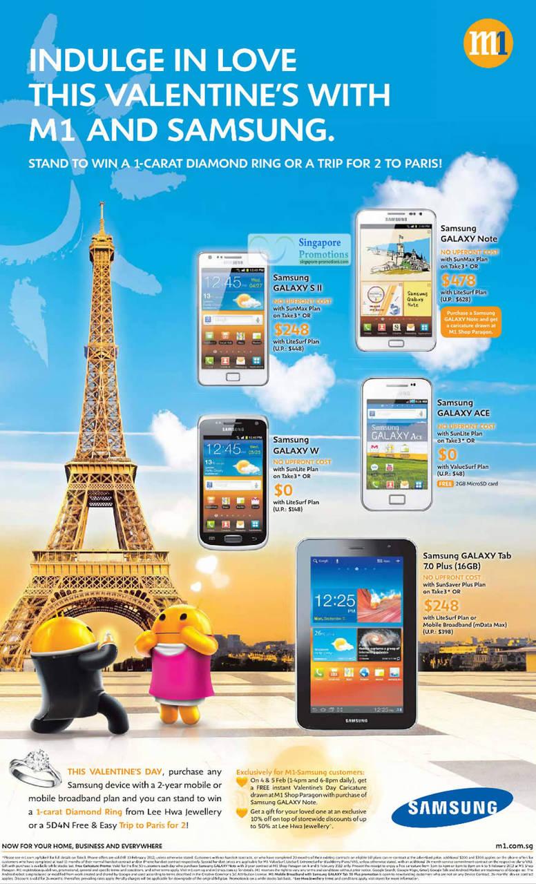 Samsung Galaxy Note, Galaxy S II, Galaxy W, Galaxy Ace, Galaxy Tab 7.0 Plus 16GB