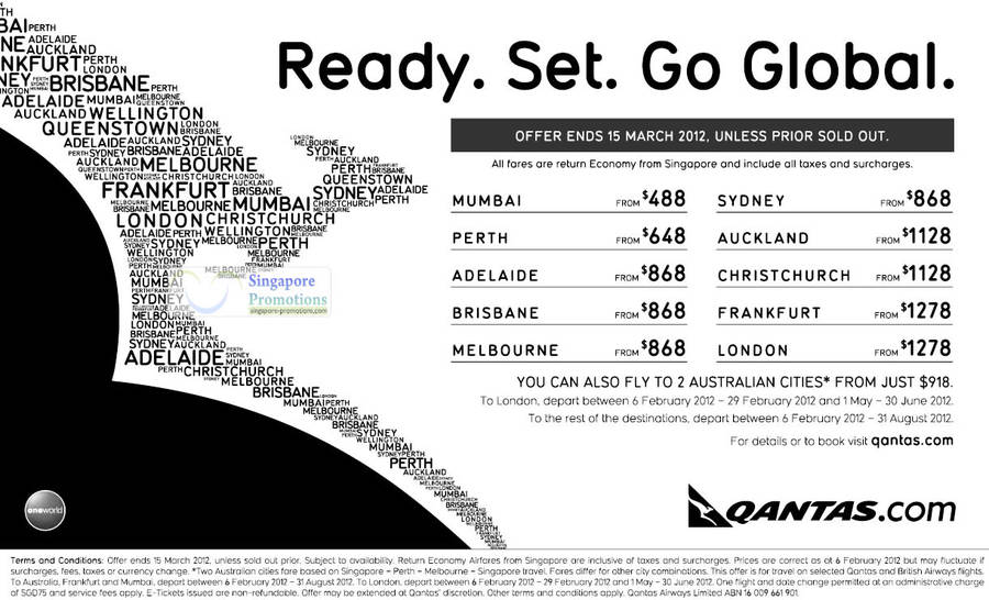 Mumbai, Perth, Adelaide, Brisbane, Melbourne, Sydney, Auckland, Christchurch, Frankfurt and London