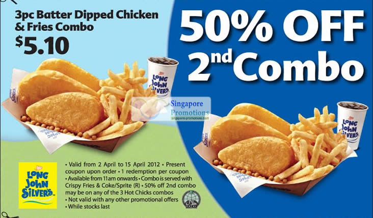 2 Apr 3pc Batter Dipped Chicken and Fries Combo, 50 Percent Off 2nd Combo