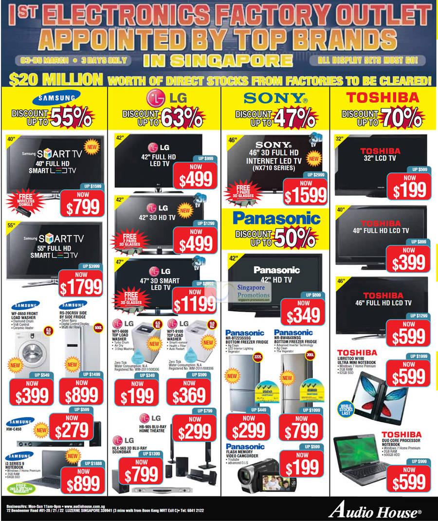 Panasonic Nr-Bw464xnsg Fridge, Toshiba Libretoo W100 Notebook, Panasonic Nr-Bt223sssg Fridge, Sherwood Rd-6513 Av Receiver, LG Hlx-56s 3d Blu Ray Soundbar, LG Hb-905 Blu-Ray Home Theatre System, LG Wft-9100 Washer, LG Wft-6600 Washer, Samsung Wf-8650 Washer, Samsung Rs-20crsv Fridge, Samsung Hw-C450 Home Theatre System