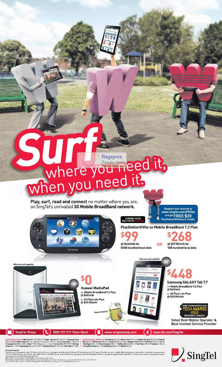 PlayStation Vita, Huawei MediaPad, Samsung Galaxy Tab 7.7