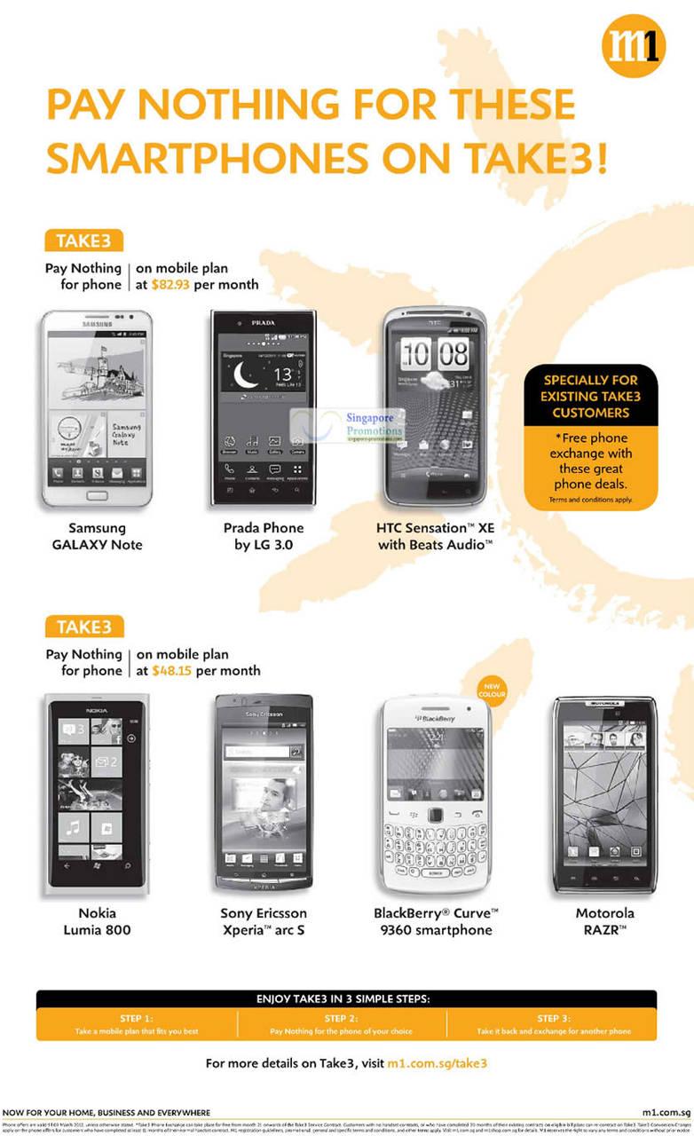Samsung Galaxy Note, Prada Phone by LG 3.0, HTC Sensation XE, Nokia Lumia 800, SE Xperia Arc S, Blackberry Curive 9360, Motorola Razr