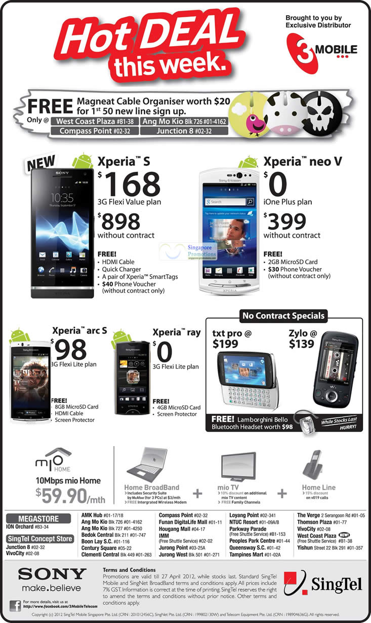 3Mobile Sony Xperia S, Neo V, Arc S, Ray