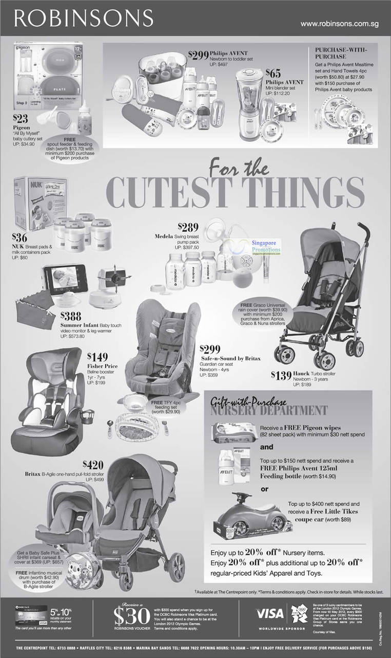 Philips AVENT Newborn To Toddler Set, Medela Swing Breast Pump Pack, Hauck Turbo Stroller Newborn - 3 years, Safe-n-Sound car seat Newborn - 4yrs, Summer Infant Baby touch video monitor & leg warmer, Fisher Price Beline booster, Britax B-Agile one-hand pull-fold stroller