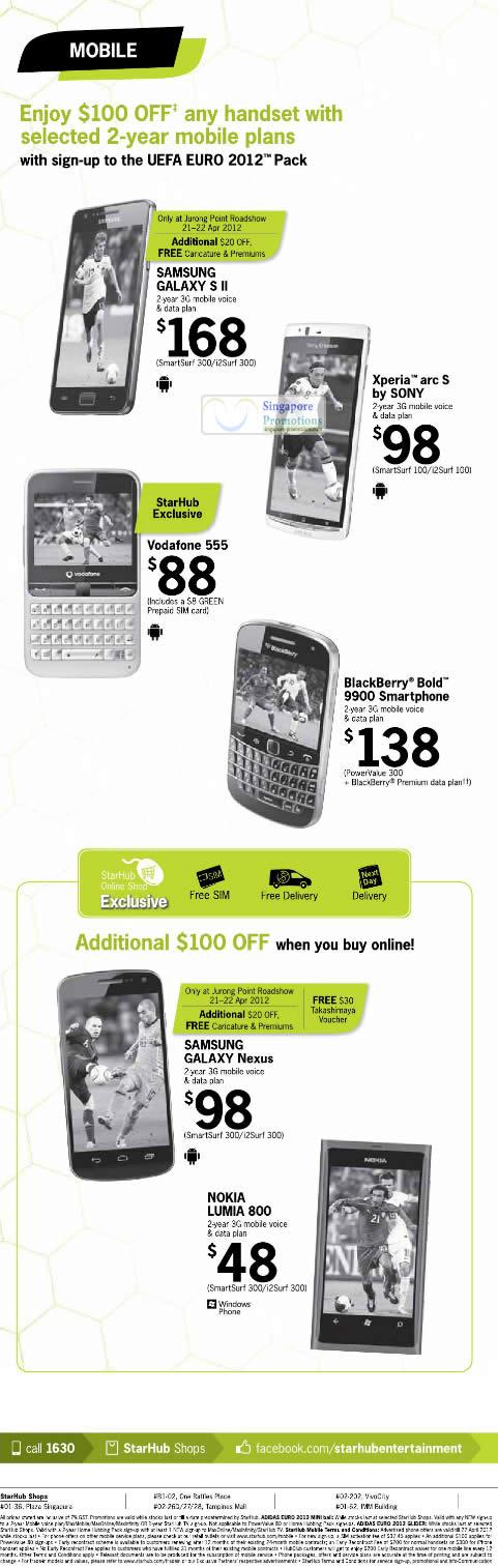 Samsung Galaxy S II, Nexus, Sony Xperia Arc S, Vodafone 555, Blackberry Bold 9900, Nokia Lumia 800