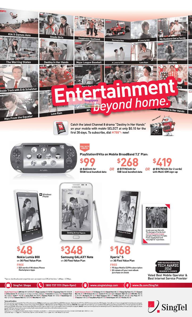Sony Playstation Vita, Nokia Lumia 800, Samsung Galaxy Note, Xperia S