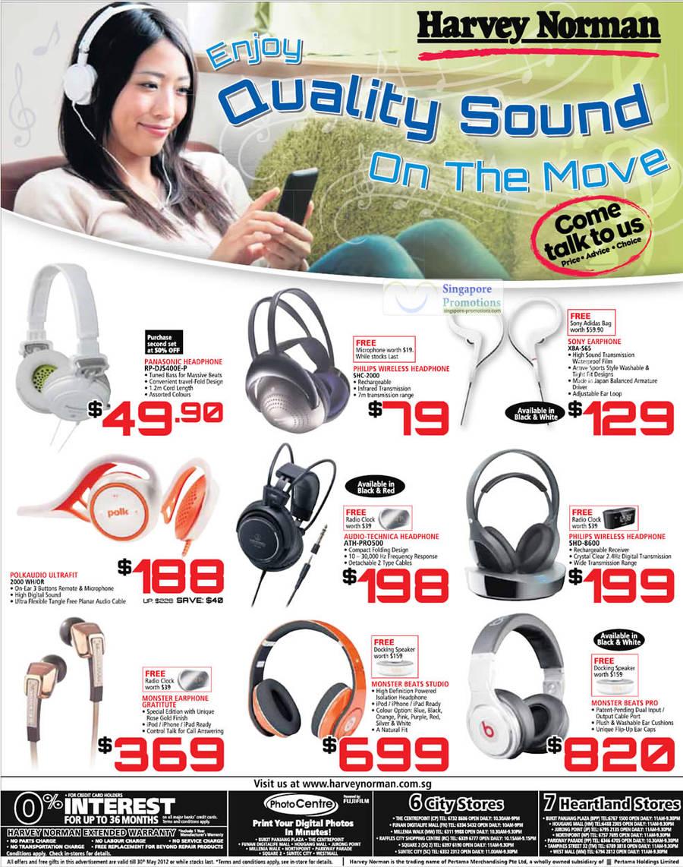 PANASONIC Headphone RP-DJS400E-P, PHILIPS Wireless Headphone SHC-2000, SONY Earphone XBA-S65, PHILIPS Wireless Headphone SHD-8600, AUDIO-TECHNICA Headphone ATH-PR0500, POLKAUDIO Ultrafit 2000 WH/OR, MONSTER Earphone Gratitute, MONSTER BEATS Studio, MONSTER BEATS Pro