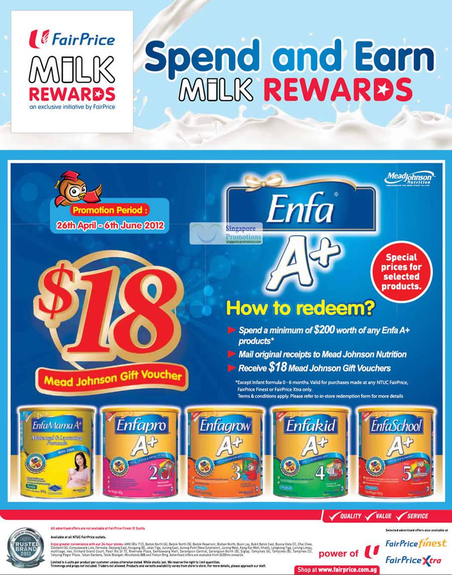 Enfa Milk Rewards Mama, Enfapro, Enfagrow, Enfakid, Enfaschool A+
