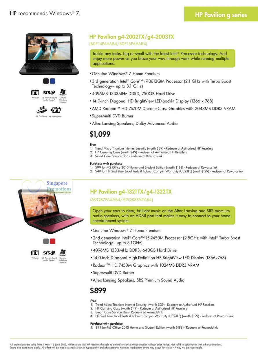 Notebooks, HP Pavilion g4-2002TX, g4-2003TX, g4-1321TX, g4-1322TX