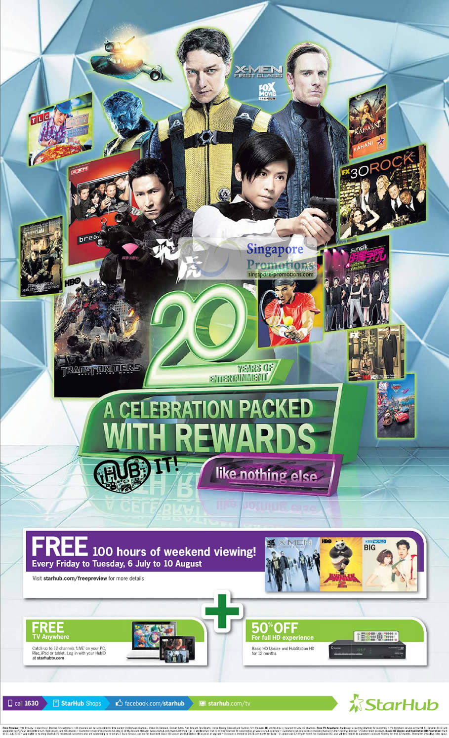 20th Anniversary Free 100 Hours Weekend TV Channels