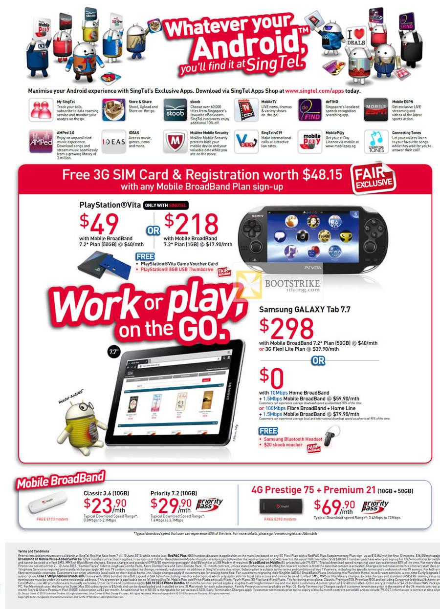 Apps Shop, Sony PlayStation Vita, Free 3G SIM Card, Registration, Samsung Galaxy Tab 7.7, Mobile Broadband Classic 3.6, Priority 7.2, 4G Prestige 75, Premium 21