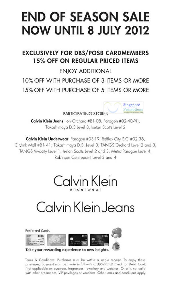 711980a54b4 Calvin Klein Jeans   Underwear 15% Off End of Season Sale 1 Jun – 8 Jul 2012