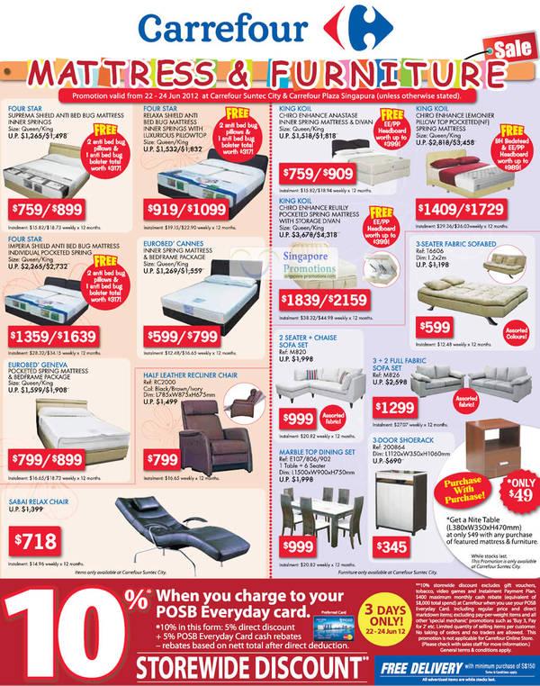 4b27b6340b24e Carrefour Mattress   Furniture Sale 22 – 24 Jun 2012