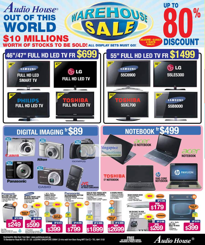 SAMSUNG 55C6900 LED TV, LG 55LE5300 LED TV, SAMSUNG 55B8000 LED TV, TOSHIBA 55XL700 LED TV, Panasonic NA-F70B2 WASHER, Samsung WF-8702 WASHER, Panasonic NR-BW464XNSG FRIDGE, ELBA EB-1722 OVEN