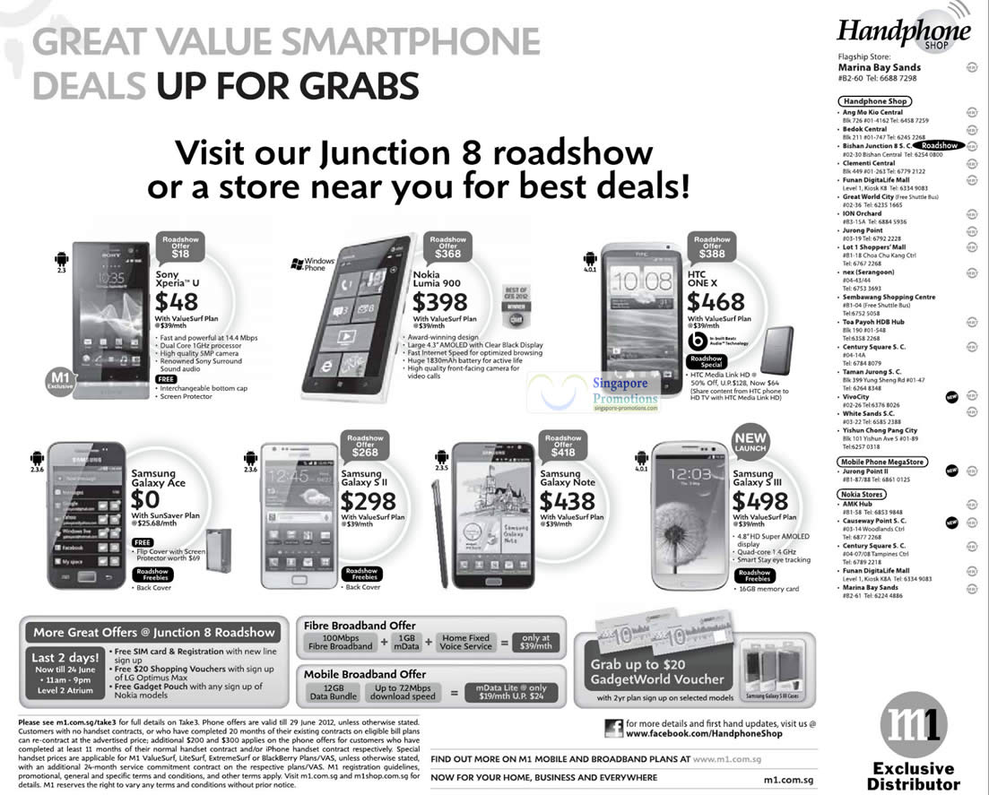 Handphone Shop Sony Xperia U, Nokia Lumia 900, HTC One X, Samsung Galaxy Ace, S II, Note, S III