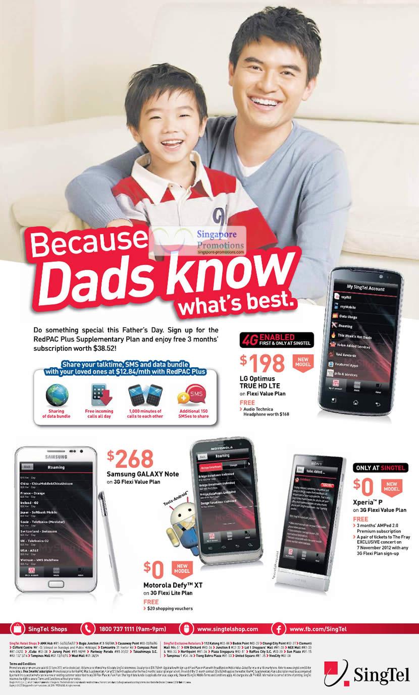 LG Optimus True HD LTE, Samsung Galaxy Note, Motorola Defy XT, Sony Xperia P