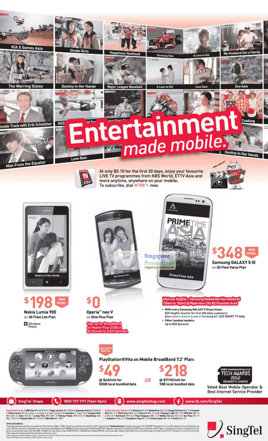 Nokia Lumia 900, Sony Xperia Neo V, Samsung Galaxy S III, Sony Playstation Vita