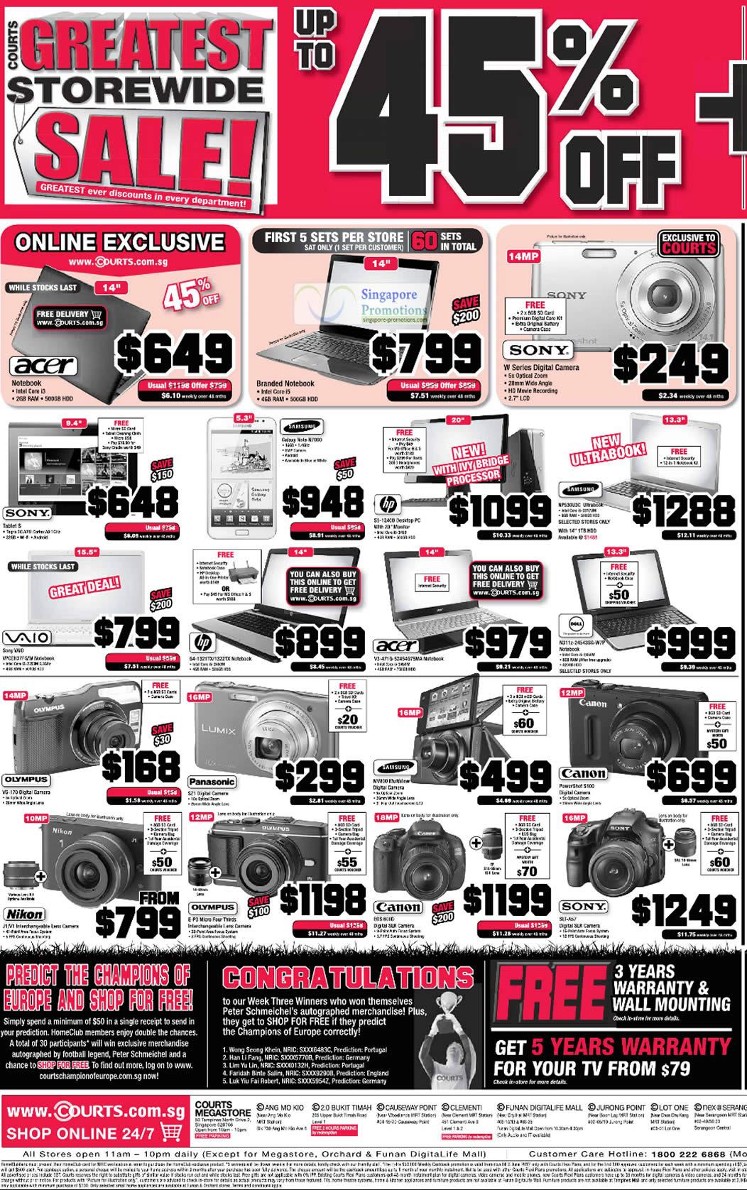 Notebooks, Digital Cameras, Acer, Sony, HP, Samsung, Dell, Canon, Panasonic, Olympus, Nikon
