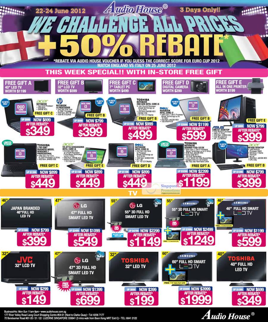 TOSHIBA L740-2067 Notebook, Acer V3-471G-52454G50MA Notebook, TOSHIBA QOSMIO F750-1013X Notebook, Asus CM6731 DESKTOP PC, Acer M1930 DESKTOP PC
