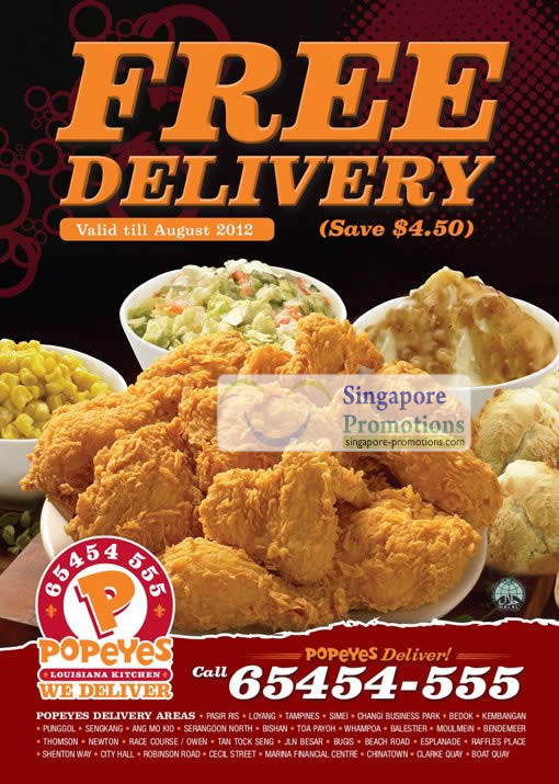 Popeyes Singapore Free Delivery Promotion 21 Jun 31 Jul 2012