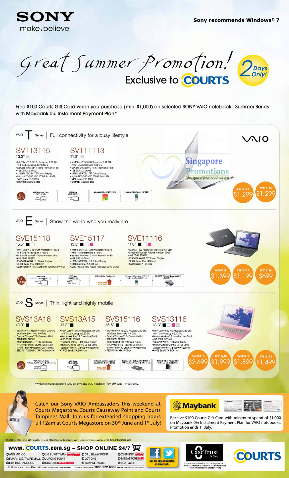 Sony Vaio Notebooks SVT13115, SVT11113, SVE15118, SVE15117, SVE11116, SVS13A16, SVS13A15, SVS15116, SVS13116