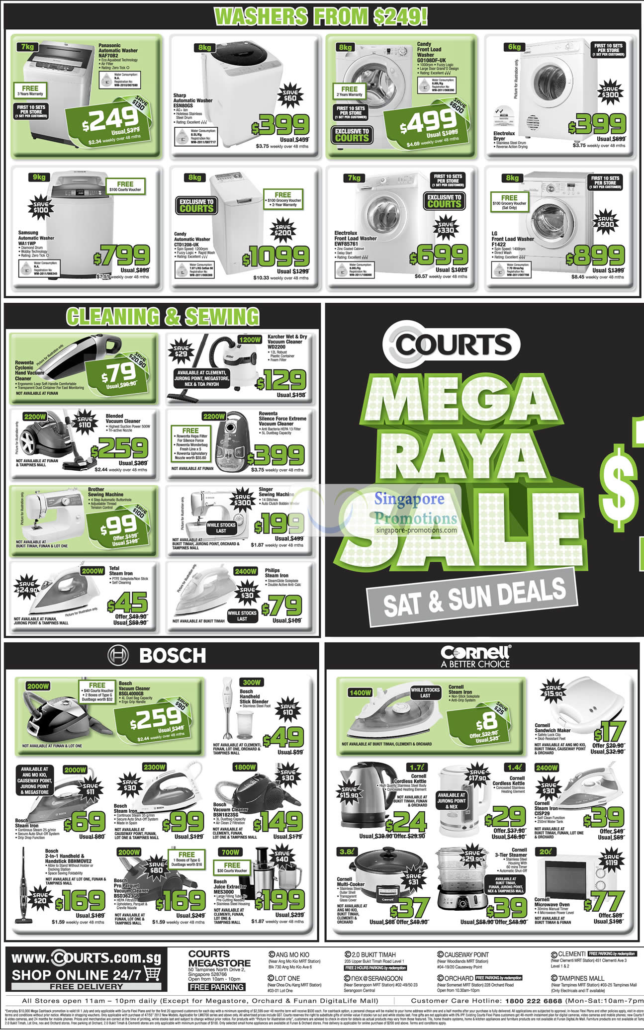 Washers, Steam Irons, Vacuum Cleaners, Bosch, Cornell, Philips, Tefal, Brother, Singer, Rowenta, Candy, Electrolux, LG, Sharp
