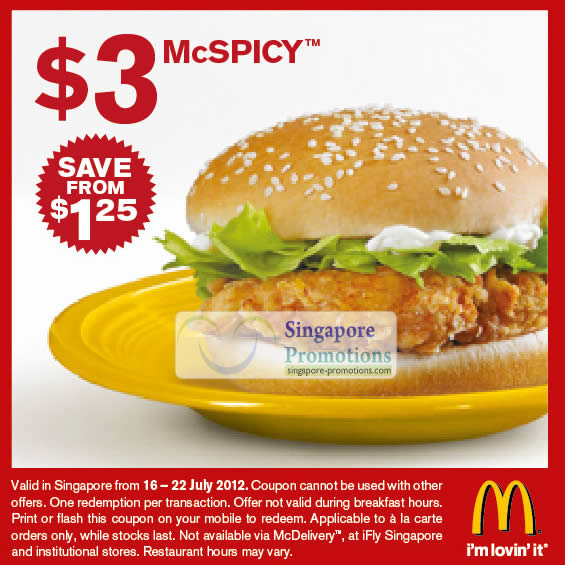 McDonald's Singapore $3 McSpicy, $2 Double Cheeseburger