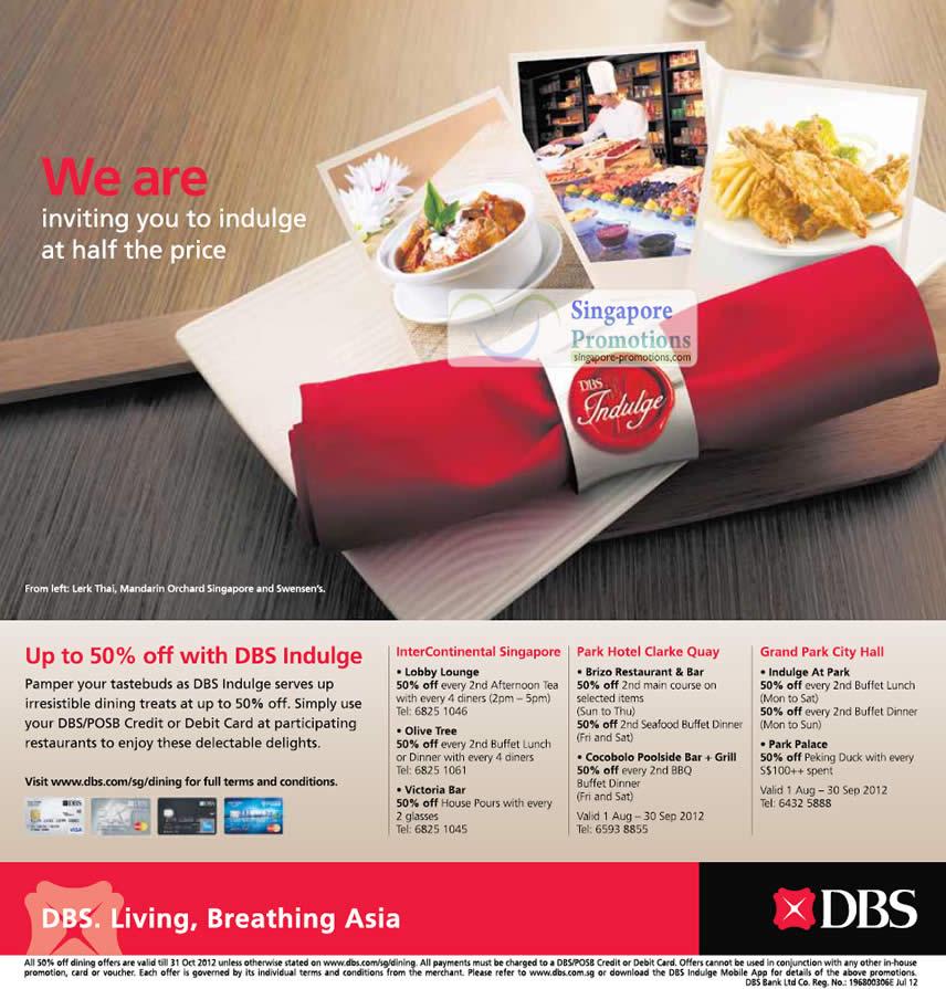 InterContinental Singapore, Lobby Lounge, Olive Tree, Victoria Bar, Park Hotel Clarke Quay, Brizo Restaurant & Bar, Cocobolo Poolsidc Bar t Grill, Grand Park City Hall, Indulge At Park, Park Palace