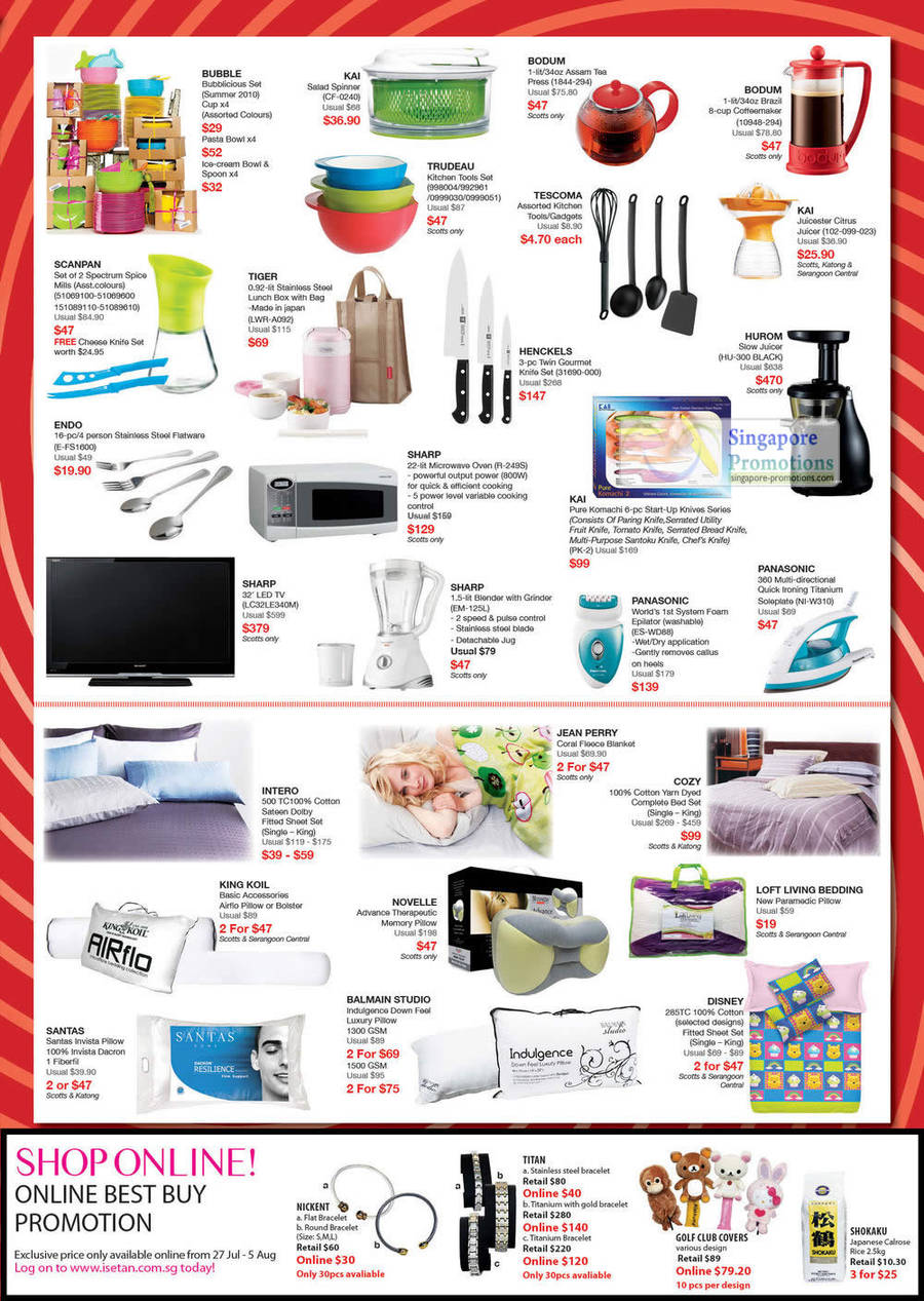TIGER Stainless Steel Lunch Box LWRA092, SHARP LED TV LC32LE340M, NOVELLE Advance Therapeutic Memory Pillow, COZY Cotton Yarn Dyed Complete Bed Set, SHARP Blender EM-125L, PANASONIC Foam Epilator ES-WD8B, SHARP Microwave Oven R-249S, HENCKELS Twin Gourmet Knite Set 31690-000, BODUM Brazil Coffeemaker 10948-294, KAI Juicer 102-099-023, HUROM Juicer HU-300, PANASONIC Electric Iron NI-W310
