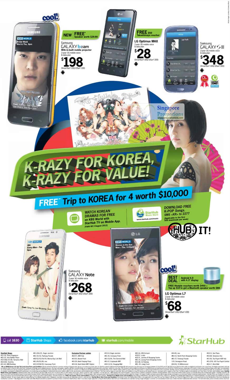 Samsung Galaxy Beam, Samsung Galaxy S III, Samsung Galaxy Note, LG Optimus MAX, LG Optimus L7
