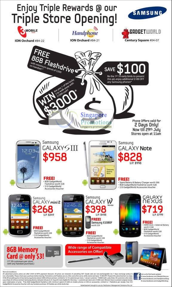 Samsung GALAXY Note, Samsung GALAXYS III, Samsung GALAXY mini 2, Samsung GALAXY W, Galaxy Nexus