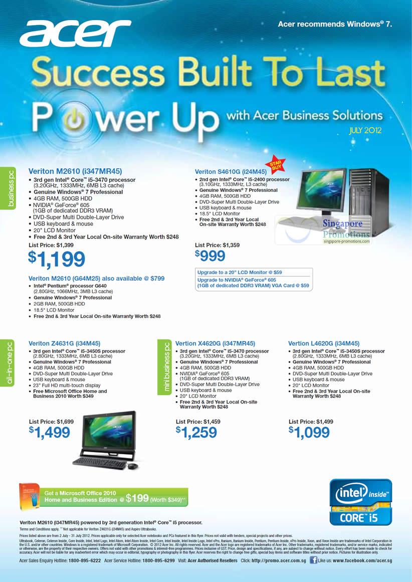 Acer Veriton M2610 i347MR45 Desktop PC, Acer Veriton S4610G i24M45 Desktop PC, Acer Veriton M2610 G64M25 Desktop PC, Acer Veriton Z4631G i34M45 AIO Desktop PC, Acer Vertion X4620G i347MR45 Desktop PC, Acer Vertion L4620G i34M45 Desktop PC