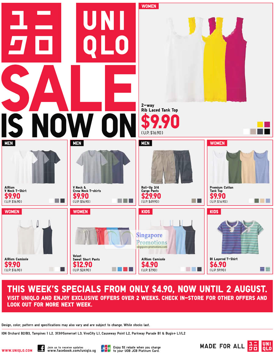 33895a98ed135b The UNIQLO Sale has started in Singapore from 20 July 2012. For this week  only