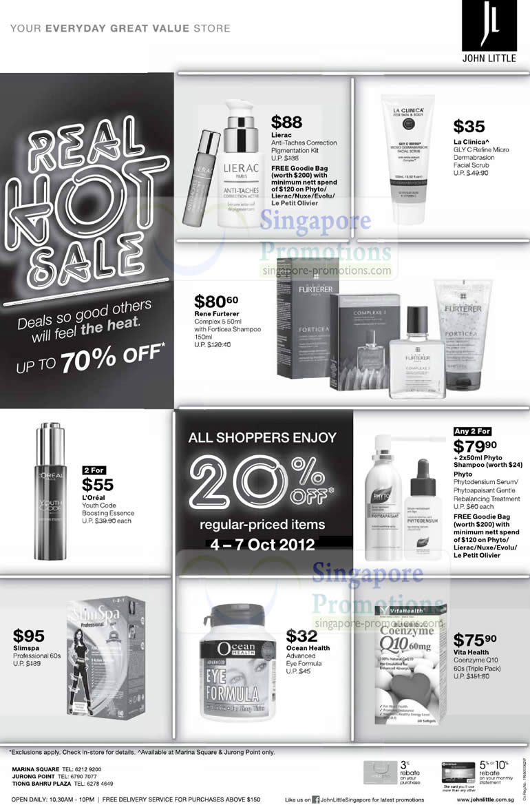 6bad0c67705 John Little is having a Real Hot Sale promotion with up to 70% off. All  shoppers enjoy a flat 20% off on all regular-priced items till 2 September  2012.