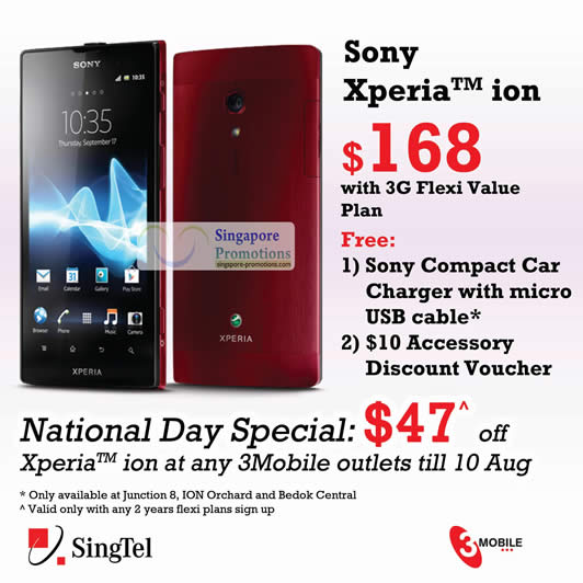 6 Aug 3Mobile Sony Xperia Ion