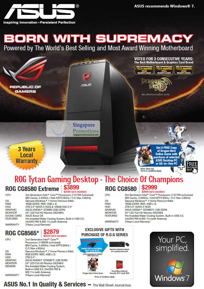 Asus ROG CG8580 Extreme Desktop PC, Asus ROG CG8565 Desktop PC, Asus ROG CG8580 Desktop PC