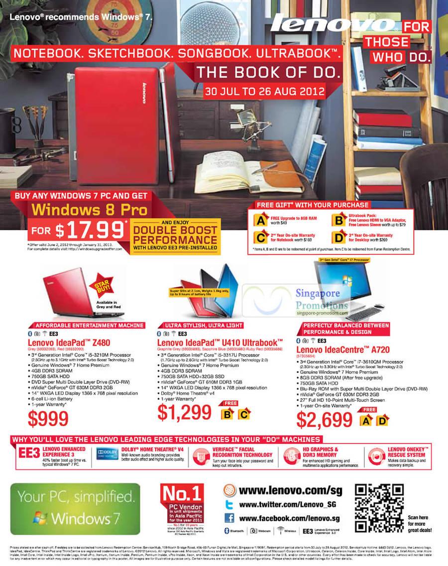Lenovo IdeaPad Z480 Notebook, Lenovo IdeaPad U410 Notebook, Lenovo IdeaCentre A720 AIO Desktop PC