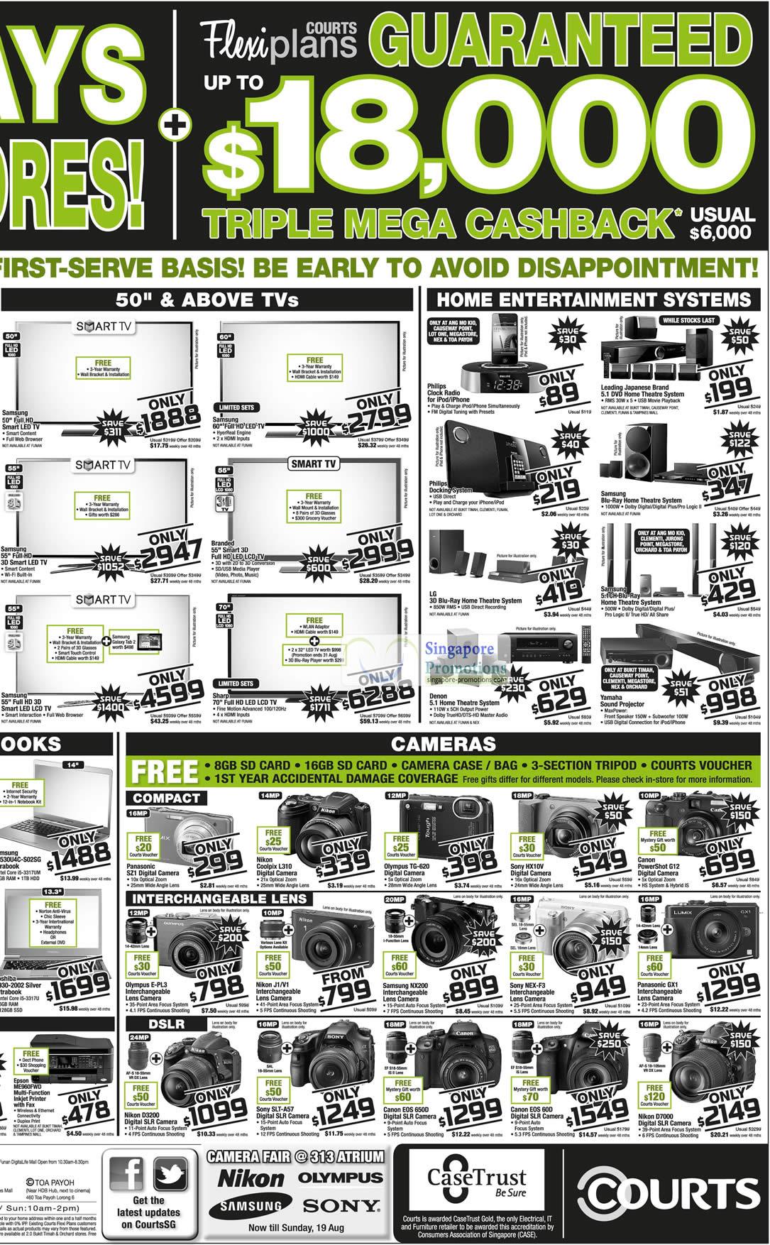 Notebooks, Digital Cameras, Samsung, Toshiba, Epson Printer, Panasonic, Olympus, Nikon, Canon, Olympus