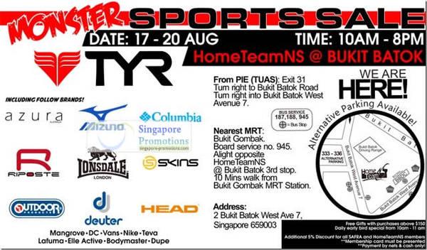 Featured image for TYR Sports Sale @ HomeTeamNS Bukit Batok 17 – 20 Aug 2012