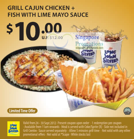 10.00 Grill Cajun Chicken, Fish with Lime Mayo Sauce Coupon