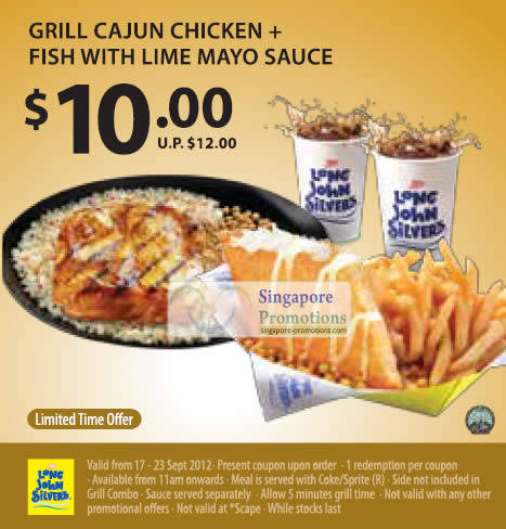 10.00 Grill Cajun Chicken n Fish with Lime Mayo Sauce Coupon
