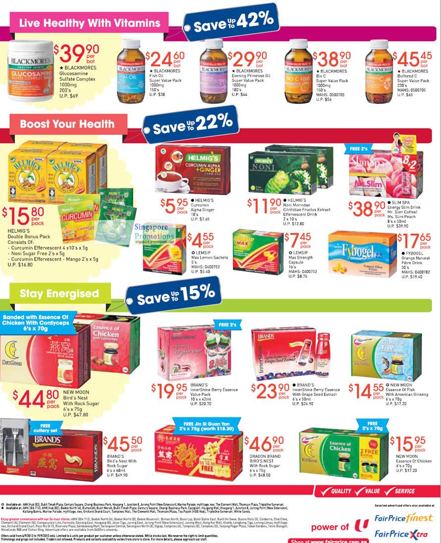 Blackmores Glucosamine, Fish Oil, Helmigs Alpha Ginger, Brands Innershine Berry Essence, Slimspa, Fybogel, Newmoon Essence