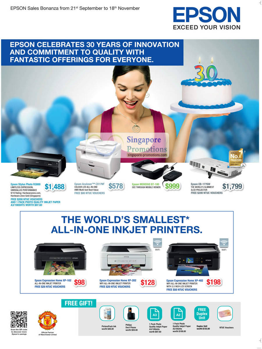 Epson Stylus Photo R3000 Inkjet Printer, Epson Aculaser CX17NF Laser Printer, Epson EB-1776W Projector, Epson Expression Home XP-102 Inkjet Printer, Epson Expression Home XP-202 Inkjet Printer, Epson Expression Home XP-402 Inkjet Printer